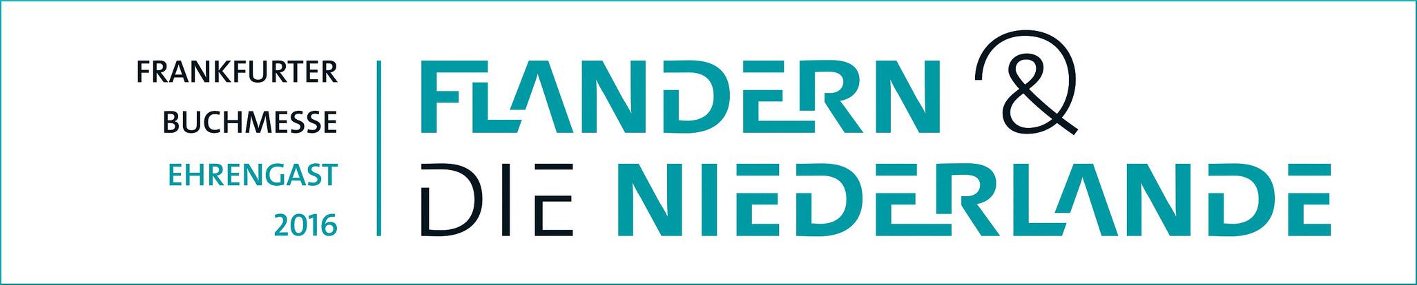 Logo der Frankfurter Buchmesse 2016 mit den Ehrengästen Niederlande und Flandern
