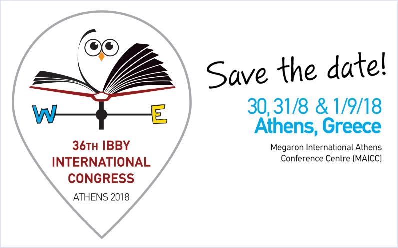 Logo des 36th IBBY International Congress. Es zeigt eine Eule auf einem Buch (die Konferenz findet in Athen statt).