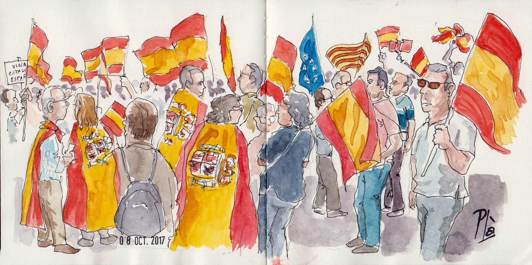 A water colour painting showing the anti independence protests in Barcelona, 08.10.17. The water colour shows people with Spanish flags (with and without emblem), Catalan and EU flags.