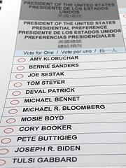 Wahlzettel für Vorwahlen der Demokraten in Sacramento County im Jahr 2020.