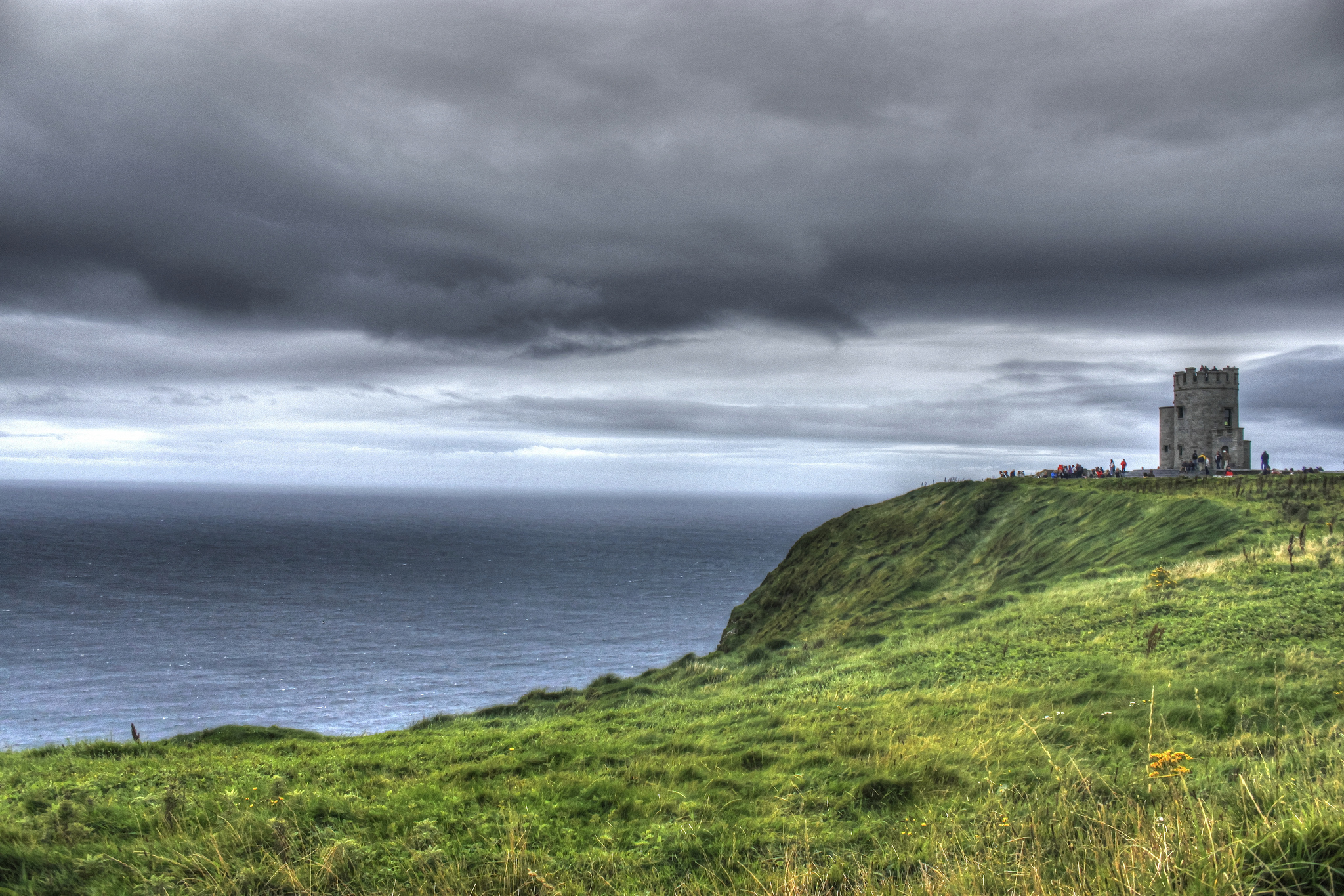 O'Brien's Tower at the top of the Cliffs of Moher, Irelands most famous cliffs.
