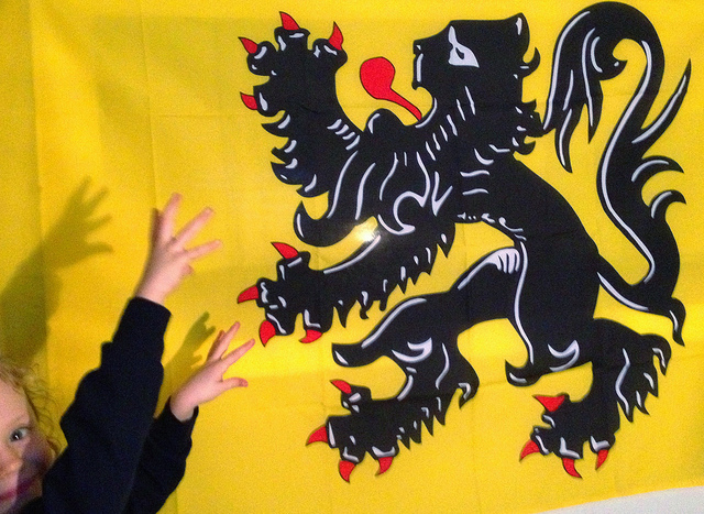 A girl is 'fighting' with the lion on the Flemish flag.