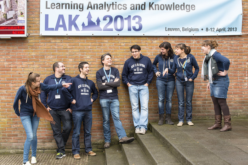 Participants of LAK13 (International Conference on Learning Analytics & Knowledge 2013) in front of the official LAK13 banner, Leuven, Belgium.