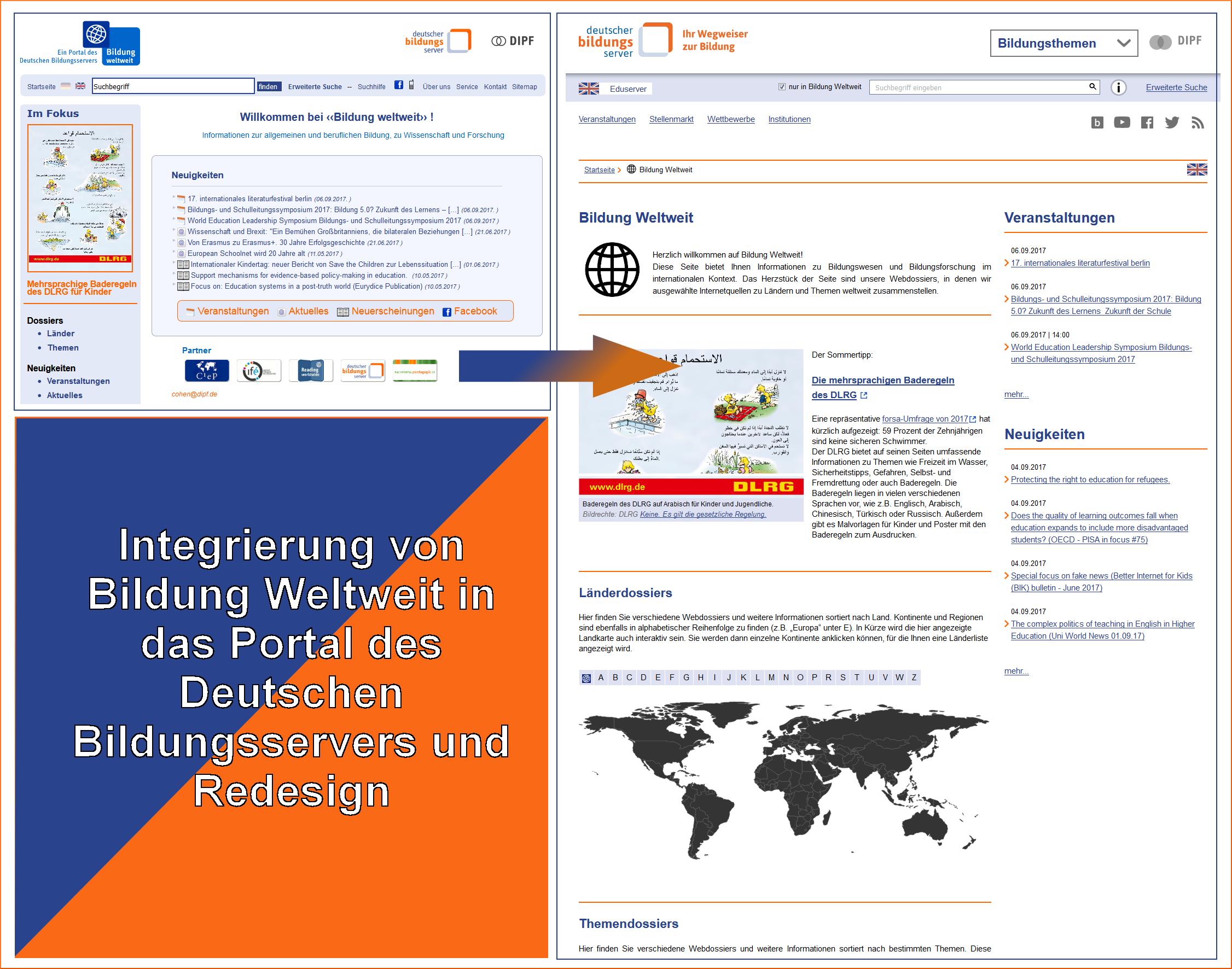 Screenshots der alten und der neuen Startseite von Bildung Weltweit mit dem Text: Integrierung von Bildung Weltweit in das Portal des Deutschen Bildungsservers und Redesign.
