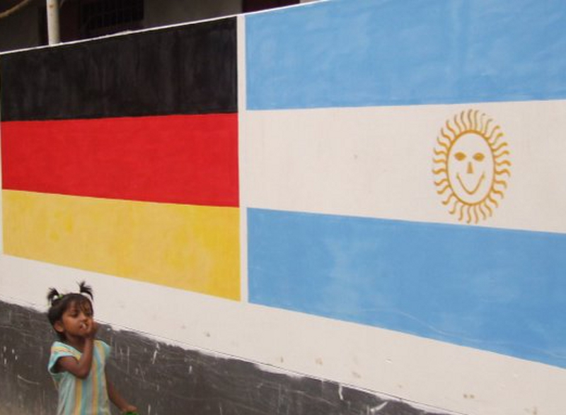 The national flags of Germany and Argentina as mural paintings in Dhaka, Bangladesh, on the occasion of the football world cup in Germany 2006.