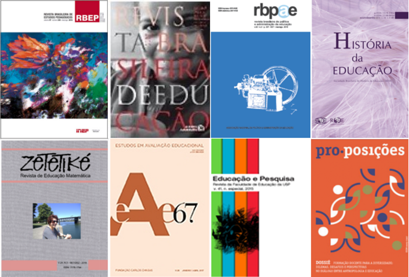 The covers of 8 different Brazilian journals in educational research.