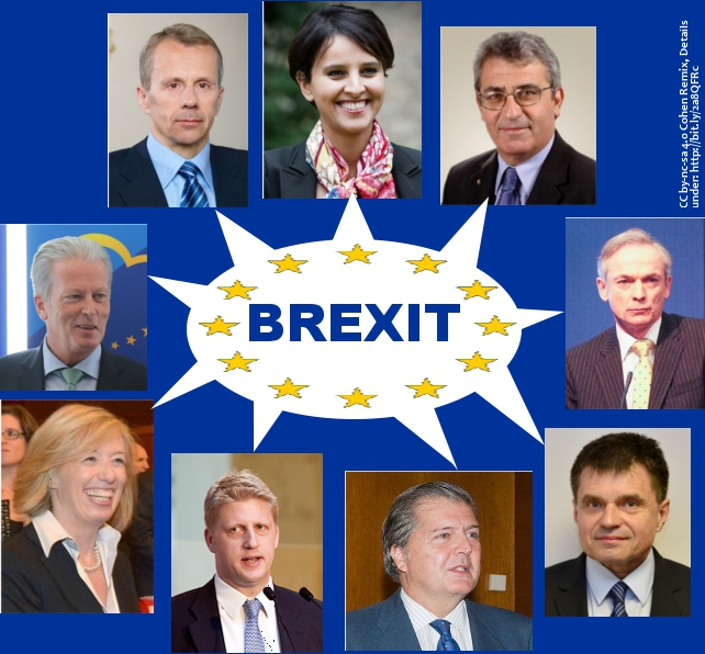 Nine photographs of European Education Ministers from whom a speech bubble emanates with the word 'Brexit'.