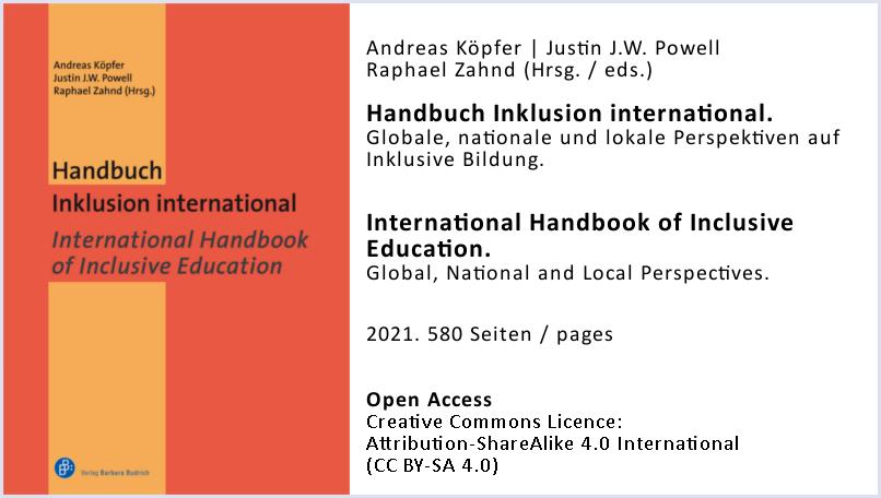 Cover des Handbuchs Inklusion International + Zusatzinfo