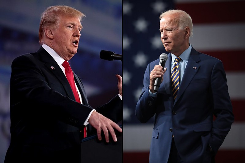 Two photos of Trump and Biden in 2020