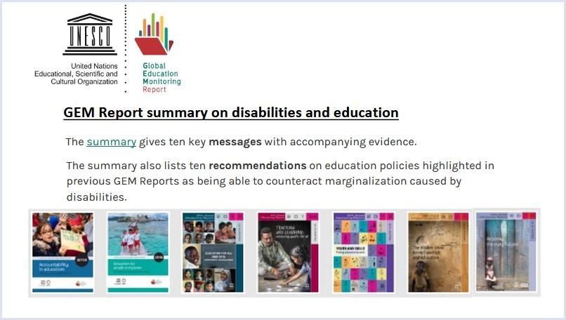 Die Cover der seit 2010 publizierten Berichte, Logo der Unesco und des GEM Reports.