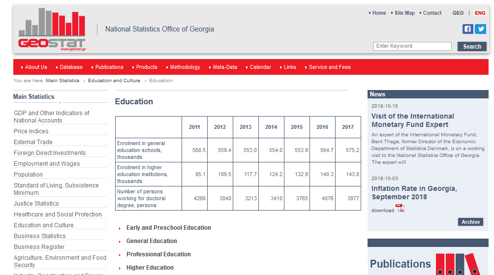 Screenshot of the site for educational statistics of the National Statistics Office of Georgia