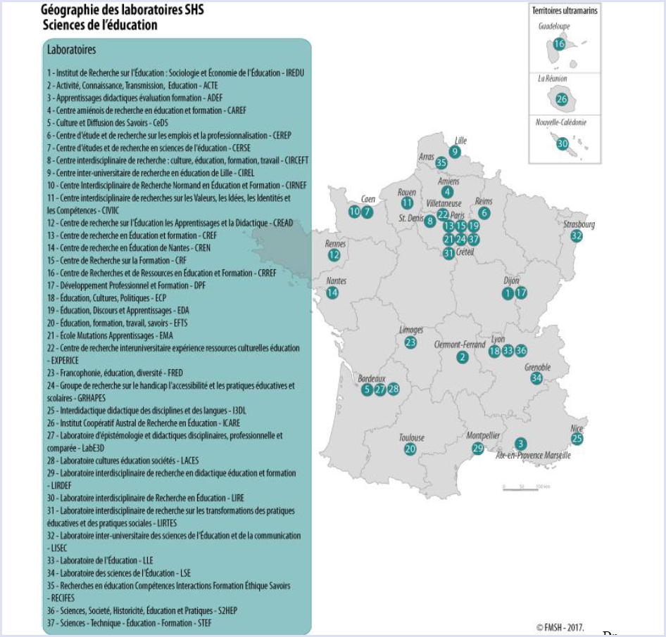 Research centres in Educational Sciences in France - geographic distribution