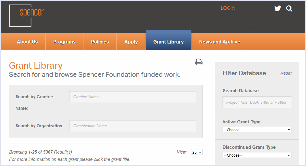 Screenshot der Datenbank der Projektbewilligungen der Spencer Foundation, dem
