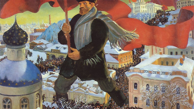 Der Bolschewik, Gemälde von Boris Michailowitsch Kustodijew, 1920