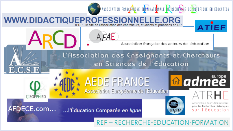 Logos of French and Francophone professional associations in the field of educational research.