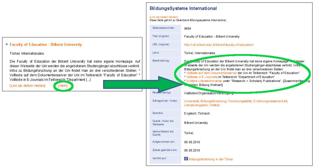 Screenshot des Vorgangs 'Klick auf [mehr] unter dem Abstract eines Datensatzes'.