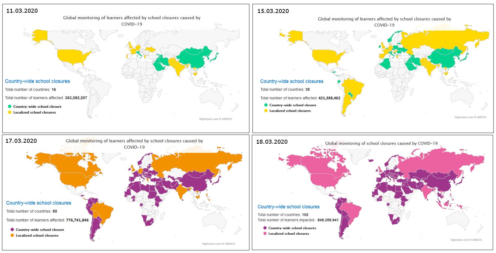 Vier Weltkarten, die die Entwicklung der weltweiten Schulschließungen aufgrund des Coronavirus zwischen dem 11. und 18.03.2020 zeigen.