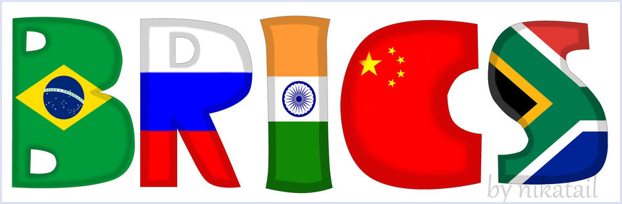 BRICS letters in the colours of the BRICS states' national flags