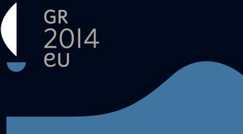 A stylised wave with a ship and the lines 'GR 2014 eu'.
